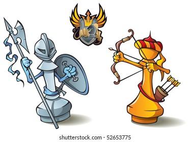 "Chess pieces series, black and white pawns, Crusaders vs. Saracens, including bonus ""Chess Battle"" heraldic emblem, vector illustration"