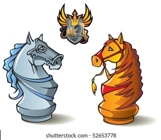 """Chess pieces series, black and white knights, Crusaders vs. Saracens, including bonus """"Chess Battle"""" heraldic emblem, vector illustration"""