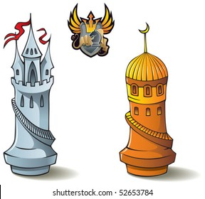 """Chess pieces series, black and white rooks, Crusaders vs. Saracens, including including bonus """"Chess Battle"""" heraldic emblem, vector illustration"""