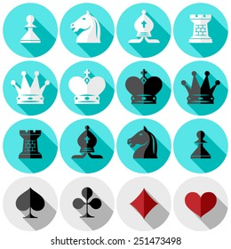 chess pieces. suits of playing cards. flat design in color