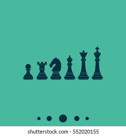 Chess pieces vector icon. Simple flat chess pictogram.