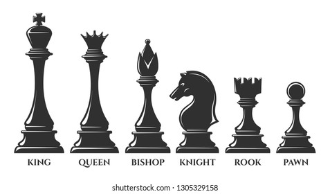 Chess pieces. Vector chess piece, knight and pawn, bishop and queen, success strategy elements isolated on white background, vector illustration