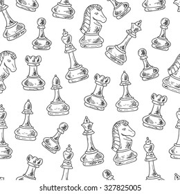 Chess Pieces Vector Seamless pattern. Hand drawn doodle king, queen, bishop, knight, rook, pawn and chess board, chess clock.