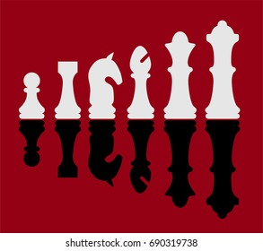 chess pieces vector, simple clean, white and black, shadow, red background