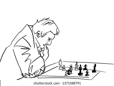 Chess player at the chessboard. Black drawing. Chessplayer thinks about the move. Chess pieces on checkerboard. Isolated contour. Vector illustration.