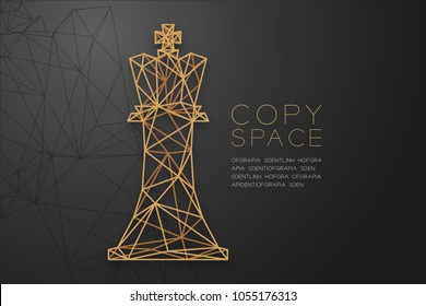 Chess Queen wireframe, Polygon golden frame structure concept design illustration isolated on black gradient background with copy space, vector eps 10