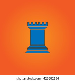 Chess Rook. Blue flat icon with black stroke on orange background. Collection concept vector pictogram for infographic project and logo