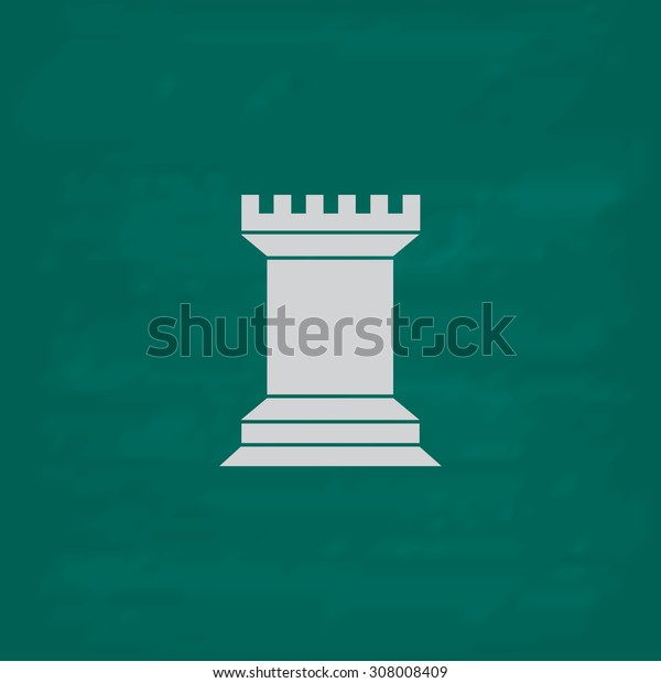 Chess Rook. Icon. Imitation draw with white chalk on green chalkboard. Flat Pictogram and School board background. Vector illustration symbol