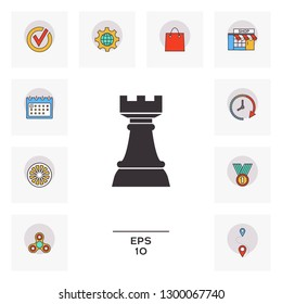 Chess Rook. Strategy icon. Graphic elements for your design