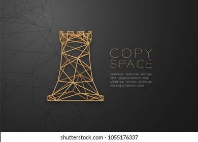 Chess Rook wireframe Polygon golden frame structure, Business strategy concept design illustration isolated on black gradient background with copy space, vector eps 10