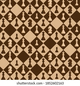 Chess seamless pattern with figures on rhombus background with halftone dots - shades of brown