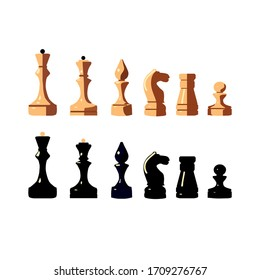 chess set of brown and black figures isolated in flat style on a white background vector illustration