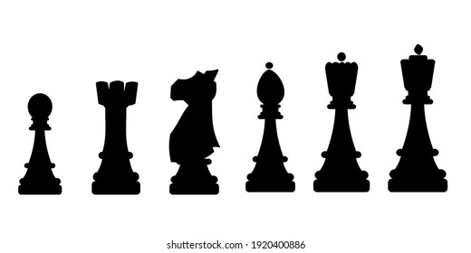 Chess simple icons collection on white background Vector illustration