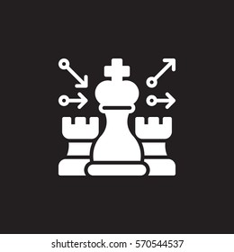 Chess, strategy icon vector, filled flat sign, solid white pictogram isolated on black. Symbol, logo illustration