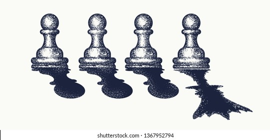 Chess tattoo and t-shirt design. Pawn dreams to become queen. Symbol of motivation, career, leadership, tactics and strategy. Ambitions concept