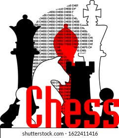 Chess themed vector graphic. Posters can be made for sports clubs, schools, tournament or competitions. Banner or gift card.