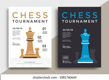 Chess tournament poster template. Sport game vector flyer.
