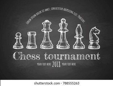 Chess tournament poster. Vector hand drawn illustration on chalkboard. Template in vintage style.