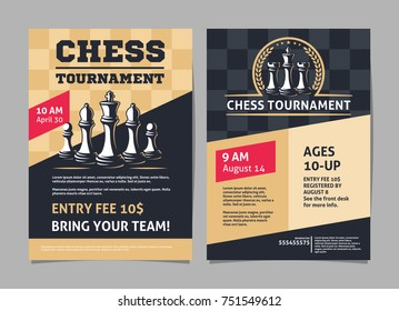 Chess tournament posters, flyer with chess figures - template vector design