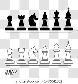 Chess vector. Black and white chess on the chessboard.