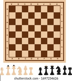 Chessboard and chess pieces. Vector set on the theme of games, sports and recreation.