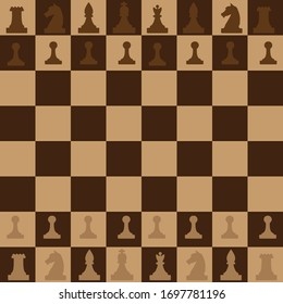 A chessboard with a full set of pieces arranged on it. All elements are isolated.