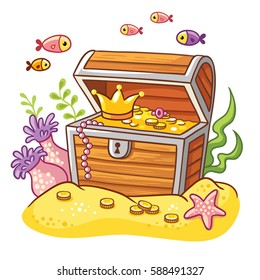 Chest with coins and crown Treasure chest on sea bottom with fish and seaweeds around.