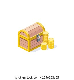 Chest coins Treasure. Vector 3d isometric, color web icon, new flat style. Creative illustration design, idea for infographics.