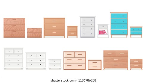 Chest of drawers, bedside table set. Vector. Furniture icon in flat design. Wooden textured dresser, commode. Cartoon house equipment for bedroom, living room isolated on white background.