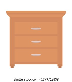 Chest of drawers isolated piece of furniture. Vector commode of brown color, bureau or night table. Home interior design, dresser or cupboard, modern house decor
