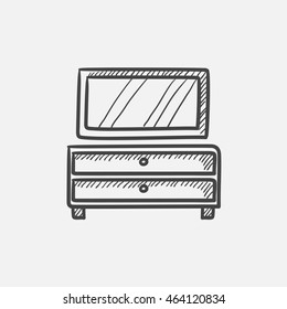 Chest of drawers with mirror sketch icon for web, mobile and infographics. Hand drawn vector isolated icon.