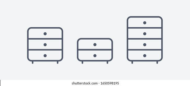 Chest of drawers vector icon set. Bedside commode logo. Nightstand Drawer chest line outline fllat design illustration isolated on white