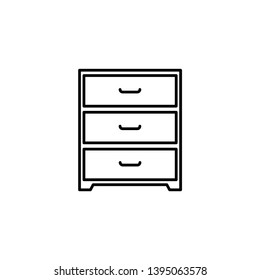 Chest of drawers vector sketch icon isolated on background. Hand drawn Chest of drawers icon. Chest of drawers sketch icon for infographic, website or app.