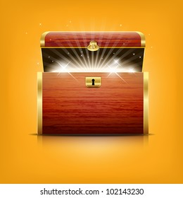 Chest with glowing treasure - vector file