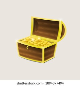 A chest with gold isolated on a white background.