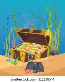 Chest of gold on the ocean bottom. Vector flat cartoon illustration