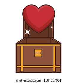 Chest with heart videogame cartoon
