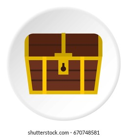Chest icon in flat circle isolated vector illustration for web