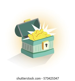 Chest with money and gold. Cartoon illustration