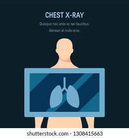 Chest radiograph concept. Vector illustration in flat style. Template for web banners, advertising, posters, infographics etc.