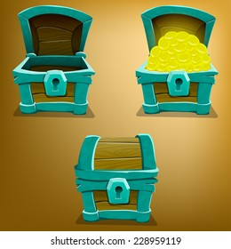 Chest set for game interface. Vector illustration.