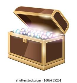 Chest treasure vector icon.Realistic vector icon isolated on white background chest treasure.