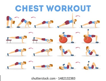 Chest workout set. Collection of exercise for arm and chest muscle building. Sport woman training with barbell and dumbbell. Isolated vector illustration in cartoon style