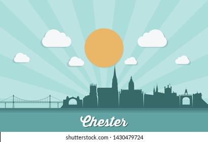 Chester skyline - England, United Kingdom, UK, Great Britain - vector illustration