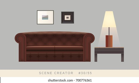 Chesterfield couch, table, lamp, paintings. Isolated vector objects. Scene creator set.