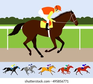 Chestnut Race Horse With Jockey On Racecourse Flat Design Vector Illustration 6 Racehorses In