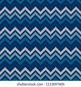 Chevron Abstract Knitted Sweater Pattern. Vector Seamless Background with Shades of Blue Colors. Wool Knit Texture Imitation
