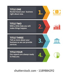 Chevron arrow infographic template. Perfect as a note-box or additional info for your website. Template with four options in solid corporate colors.