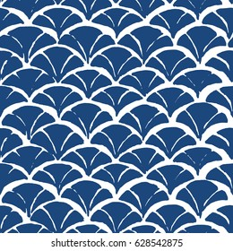 Chevron batik indigo seamless pattern. Shibori Japanese design of fabric