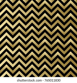 Chevron black and gold vector pattern. Zigzag background for Christmas design